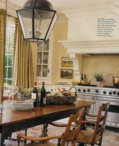 table in the kitchen instead of an island. Love having a table Country Kitchen, New Kitchen, Kitchen Dining, Kitchen Decor, Kitchen Ideas, Kitchen Stove, Family Kitchen, Kitchen White, Dining Rooms