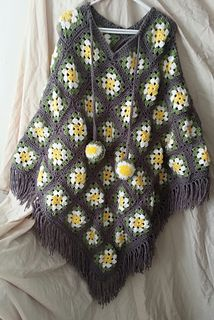Granny Square Poncho pattern by Rachel Simister