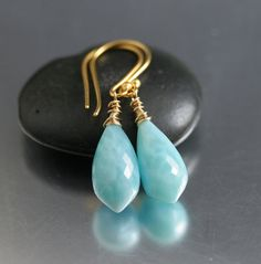 I'm in LOVE with Larimar Gemstones!!!!!!!!!!Larimar Chandelier Earrings on Etsy, $148.00