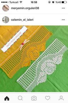 Tog pan o - Salvabrani Filet Crochet, Crochet Lace Edging, Crochet Borders, Crochet Doilies, Crochet Stitches, Doily Patterns, Crochet Patterns, Crochet Symbols, Crochet Curtains