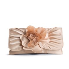 Lulu Townsend Rosette Clutch - Champagne (1.965 RUB) ❤ liked on Polyvore featuring bags, handbags, clutches, purses, accessories, strap purse, hand bags, rose handbag, lulu townsend purse and man bag