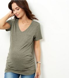 Maternity Kahki V Neck T-Shirt | New Look