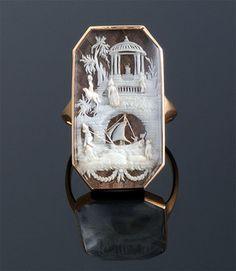 Georgian ivory fretwork ring, Oriental Scene French or English c.1800