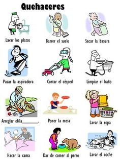 This is a basic Spanish vocabulary sheet for household chores with pictures included.