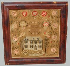 Amanda Kirk's Daughter of Joseph & Eliza H. Kirk 1847, depicting a large central house with fenced front yard flanked by trees set upon by large birds and an elaborate trailing vine floral rose border. In period mahogany frame with some veneer loss.