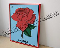 """Canvas 8x10"""" La Rosa Loteria Card Stretched And Ready to Hang - Red Rose Mexican Bingo Art Print"""