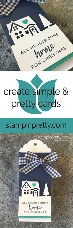 Create Holiday Tags with the Hearts Come Home Bundle by Stampin' Up! Created by Mary Fish, Stampin' Pretty.  #maryfish #stampinpretty