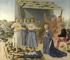 Nativity - Piero della Francesca 1470 - Piero ha fissato la storia di Natale nel suo tempo. Il terreno pianeggiante in cima alla collina, la loro posizione evoca la Toscana, così come la valle di avvolgimento a sinistra. Nel frattempo l'orizzonte a destra, dominato dalla basilica, potrebbe quasi essere fuori casa di Piero città Borgo Sansepolcro