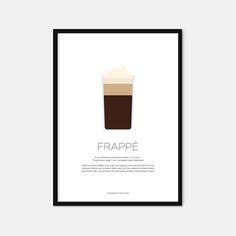 Frappé coffee print  Coffee art  Coffee gifts  by EverlongPrintCo