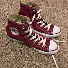 Maroon Converse Maroon High Top Converse. Worn a max of 5 times. Converse Shoes Sneakers