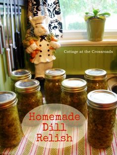 Cut down to about the recipe and used trimmed ends from making dill spears. Used shallot and cider vinegar and added garlic, processed 10 min in 4 oz jars. Dill Relish Canning Recipe, Dill Pickle Relish, Canning Pickles, Relish Recipes, Canning Tips, Home Canning, Canning Recipes, Guacamole, Hummus