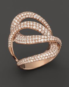 Diamond Interlocking Ring in 14K Rose Gold, 1.7 ct. t.w.