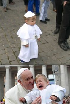 """Pope Francis meets his mini-me! The mother says, """"It was a gesture of love towards the Holy Father"""" when asked why she dressed her son like the pope for carnival, Italy's festive time before Lent."""