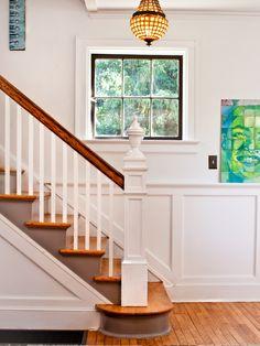 modern classic white gray entry foyer