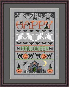 INSTANT DOWLOAD Happy Halloween Cross Stitch by littledovesamplers, £5.00