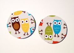 Owl Coasters / Set of 2 / Kitchen and Dining Room Decor / Bermuda Owls by Robert Kaufman. $5.00, via Etsy.