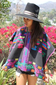 Stunning Folk Art Gypsy Hand Embroidered Huipil Poncho by Vdingy