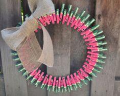 Watermelon Clothes Pin Wreath - so cute!