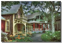 small shingled homes with ornate porches