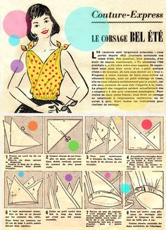 triangle top, would work for small but or child, would need more work for full busted person (This pattern looks so vintage I LOVE IT) Sewing Shirts, Sewing Clothes, Diy Clothes, Summer Clothes, Vintage Sewing Patterns, Clothing Patterns, Sewing Tutorials, Sewing Projects, Patron Vintage