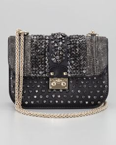 Valentino  Glam Crystal-Covered Lock Crossbody Bag