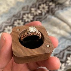Wooden engagement slim ring box from oak Wedding ring box Rustic ring box Personalized Wedding Ring Box, Unique Wedding Bands, Diamond Wedding Bands, Wooden Ring Box, Wooden Rings, Batman Wedding Rings, Rose Gold Flower Ring, Pearl And Diamond Ring, White Gold Diamonds