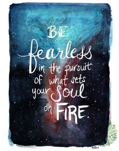 Be Fearless Hand-lettered Quote Nebula Watercolor by AhteesDesigns