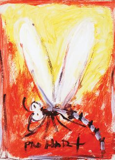 Dragonfly in red, yellow, and white. Dragonfly Painting, Mosaic Stepping Stones, Australian Bush, Damselflies, Sheep Farm, Australian Artists, Art Club, Dragonflies, Art Lessons
