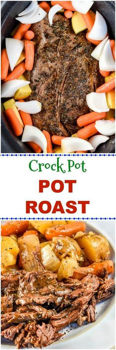 This easy Crock Pot Chuck Roast or Pot Roast recipe, with roasted potatoes, carrots, and onions, is so juicy, tender and flavorful, no one would ever believe how easy it is to make in the slow cooker! #PotRoast #CrockPot #SlowCooker via @flavormosaic