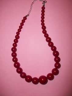 FINAL SALE Red Plastic Bead Necklace M336 by MICSJWL on Etsy, $3.00