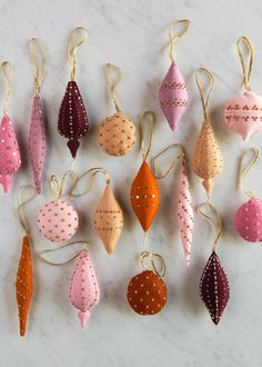 Heirloom Wool Ornaments in New Colors (Purl Soho - Create Felt Christmas Decorations, Felt Christmas Ornaments, Noel Christmas, Homemade Christmas, Beaded Ornaments, Handmade Ornaments, Christmas Movies, Christmas Wreaths, Christmas Projects