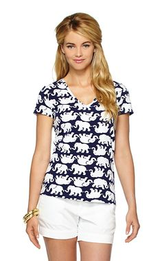 """Lilly Pulitzer """"Tusk in the Sun"""" Michele V-Neck Top"""