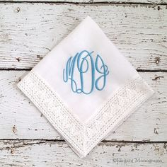 Personalized Wedding Handkerchief great for something blue.  On sale for $14 Monogram Wedding, Personalized Wedding, Personalized Hangers, Something Blue Bridal, Wedding Handkerchief, Handmade Wedding, Bridal Accessories, Unique Weddings, Wedding Ideas