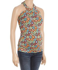 This Red & Blue Ruched Maternity Halter Top is perfect! #zulilyfinds