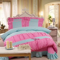 Sweet Princess-Spots Cotton 4-Piece Queen/King Size Duvet Covers