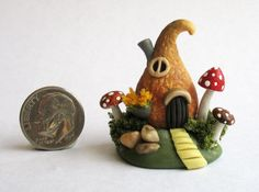 Handmade Miniature CUTE GOURD FAIRY COTTAGE HOUSE - by C. Rohal #CRohal
