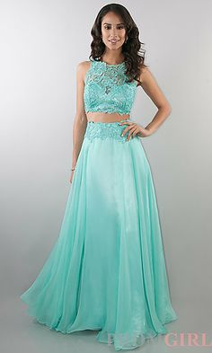 Two Piece Floor Length Lace Embellished Dress at PromGirl.com