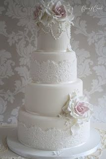 another lace cake with pearl beading at top