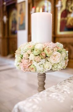 Elegant wedding inspiration with roses - Greek Wedding, Elegant Wedding, Wedding Day, Orthodox Wedding, Altar, Church Wedding Decorations, Custom Candles, Perfect Marriage, Pillar Candles