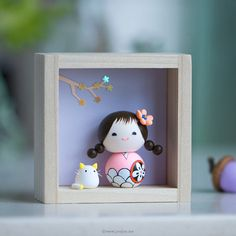 OOAK doll Polymer clay miniature doll Kokeshi by JooJooTreasures