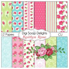 Shabby Chic Vintage Kaitlyn Rose Papers -Instant Download - Cath Kidson Style Digital Papers  Scrapbooking, Card Making, Photo Backgrounds. $4.00, via Etsy.