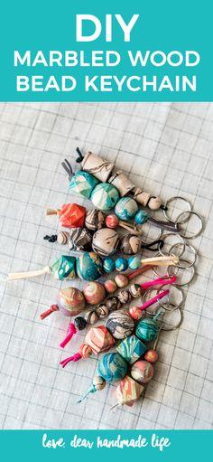 DIY Marbled Wood Bead Keychain