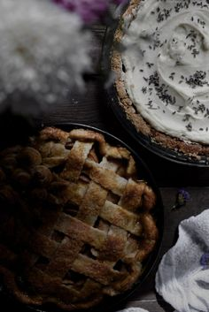 Apple and Rose Pie & Buttermilk Honey Custard Pie with Lavender and Crème Chantilly