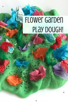 Spring fine motor kids' craft, making a play dough flower garden.