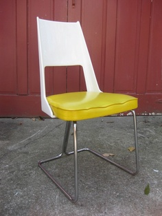 Mid-Century Modern Chair With Plastic Back Yellow Vinyl Seat and Chrome Legs Eames Era $120