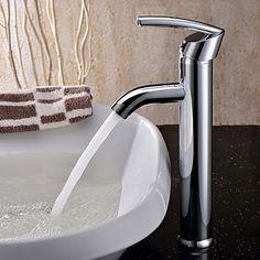 Contemporary Vessel Ceramic Valve Single Handle One Hole with Chrome Bathroom Sink Faucet – USD $ 40.01