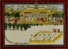 The Himalayan journey of the five sages, illustration from a Kedara Kalpa series, attributed to Purkhu of Kangra or his family workshop, Kangra, circa 1800-25.  Five Shaivite siddhas (ascetics or sages) are depicted on a pilgrimage to the Himalayas. The high number in the series, '22' (inscribed on the reverse), would indicate that they are approaching the end of their quest to the abode of Siva in the holy mountain region of Kedara-Kailasa, where they worship a Siva lingam in a golden…