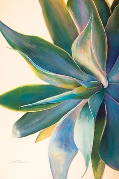 """Aloha 3"" - Acrylic on Paper, Agave Paintings www.athenamantle.com"