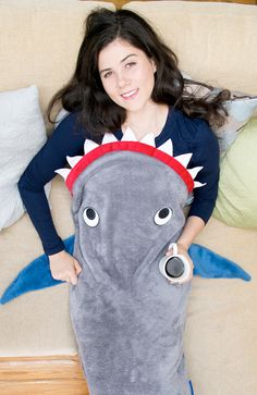 Adult Shark Blanket by Blankie Tails - Gray and Deep Blue - Blankie Tails - 2