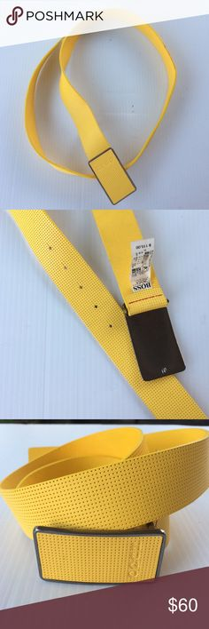 Hugo Boss Belt Size 36 Yellow New with tags Hugo Boss size USA 36, EUR 95. This belt have very slight tiny color on the side see picture. This maybe from trying on jeans. This have never be used regularly it have its tag if $ 115.00. Awesome Belt be free to make me an offer thanks. 100% Cow Skin Handmade Hugo Boss Accessories Belts